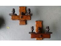 TWO ANTIQUE SOLID OAK JACOBIAN ,RUSTIC,GOTHIC WALL LIGHTS BARGAIN