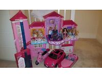 BARBIE MALIBU HOUSE PLUS FROZEN & BEETLE CAR & BOAT DOLLS