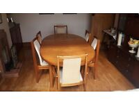 Teak Dining Table and 6 Chairs 2 Carving Chairs