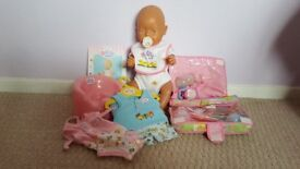 Baby Born, Doll, Potty, Changing bag and three outfits, excellent condition