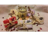 Luxury Organic Homemade Bath Set Hamper - Bath bomb - Soap - Beeswax Candle