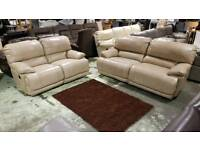 Electric Recliner, 3 x 2 Cream real leather