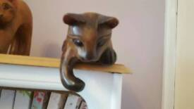 Three Wooden Cat Mantlepiece Ornaments