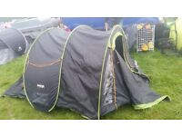 Vango Pop 300 DLX Quick Pitch Pop Up Double Skin Tent - Black And Green