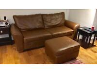 Next brown leather sofa, arm chair, and poof for sale!