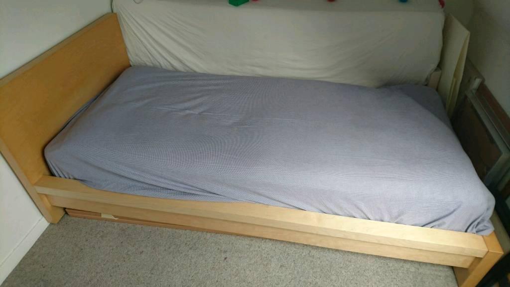 Single Ikea malm bed in beech
