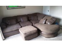 Large corner sofa and puffy