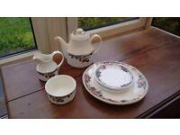 Royal Doulton autumn glory Tea pot, sugar bowl, milk jug and plates.