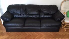 3 Seater Black Leather Lounge Suite