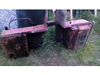 landrover seatbox in need of repair with new side panels not fitted.