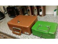 Antique cash boxes with keys £10