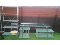 Silver glass table and 4 chairs, 2tea table, 1 shelf