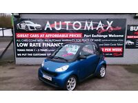 LOW MILEAGE 2009 SMART FORTWO 1.0L PULSE TRIPTRONIC BLUE ONLY 36K WITH F/S/H NEW MOT CD ALLOYS E/W +