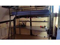 SVÄRTA Loft bed frame with desk top, silver, 90x200cm