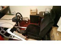 Logitech G27 steering wheel and sim chair setup