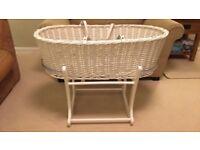 Moses basket, rocking stand, mattress and bedding set