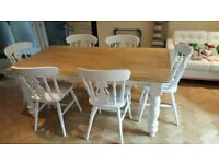 Stunning 6ft Dinning Table and 6 Fiddleback chair Set