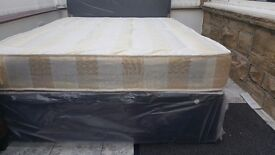 NEW DOUBLE OR 4FT SMALL DOUBLE DIVAN BED WITH KINGSTON MATTRESS