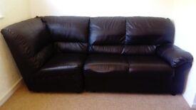Black Faux Leather Sofa 3 seats