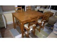 Pine Table and 4 Chairs with Cusions (Ikea Jokkmokk)
