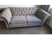 X2 antique velvet buttoned back medium sofas