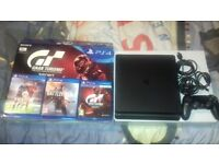 playstation 4 ps4 slim 500gb gran turismo with 3 games.