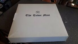 tudor mint, King Arthur pewter & swarovsky crystal chess set, boxed, excellent condition
