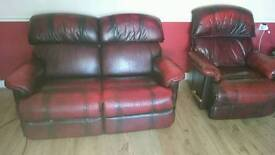 Lazy boy 2 seater settee 1 reclining chair for sale