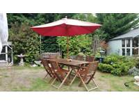 Large Wooden Garden Table, Six Chairs and Parasol