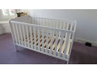 Cotbed - John Lewis white cotbed in pine. Excellent condition.
