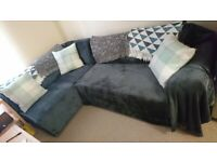 Left Hand Corner Sofa Bed - Charcoal - Plus 3 Cushions, 4 Blankets and 2 Covers