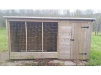 "Outdoor kennel with run 296cm/9ft 8"" length, 110cm/3ft 7"" width, 145/4ft 6"" height"