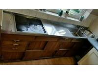 1960s Vintage Kitchen Stainless steel and wood