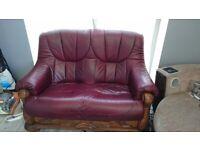 Leather Sofa - Burgundy