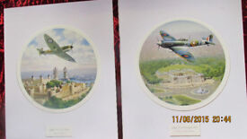 2x prints spit fire over buckingham palace,and over tower bridge (signed)