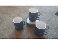 Imperial Blue Denby Coffee Cups and Saucers