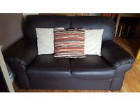 3 &2 seater settees dark brown good condition small scratch on one seat and scrstch on one arm