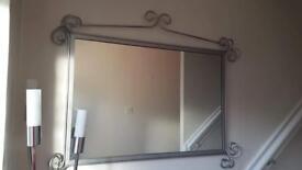 Silver wrough iron mirror