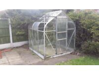 Aluminium greenhouse 6 foot square good condition inc a galvanised steel base no rust.