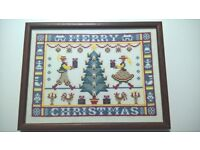merry Christmas sampler embroidery handmade picture XMAS DECORATION
