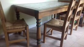 Matching Mediterranean-style Table, 6 x Chairs and Dresser