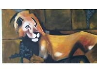 Wall painting -LION 105cmX79cm ready to hang