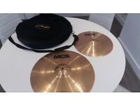Meinl MCS cymbals with cymbal bag and Hi-hat stand