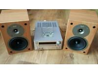 Onkyo hifi system Dab radio USB Ipod dock Cd player Gale bookshelf speakers Excellent sound quality