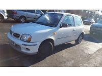 NISSAN MICRA ,WHITE ,3 DOOR,CLEAN DRIVES EXCELLENT,FULL SERVICE HISTORY,2 KEYS,1 YEAR MOT,2 ONWERS