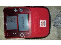 Ninento 2DS Transparent Red with Pokemon Omega Ruby