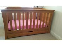 Mamas and Papas Ocean solid oak cot and chest of drawers/changing table