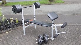 PRO POWER BENCH & 45KG WEIGHTS WITH BARS