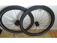"""Set of wheels made by halfords 26"""" with tyres"""