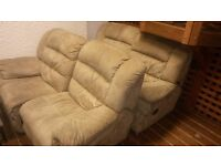 Two Off-White / Cream/Brown Suede Double Reclining Sofas